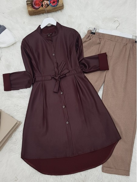 Judge Collar Lace-up Metal Button Leather Coated Tunic -Damson