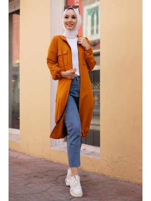 Hooded Sleeve and Skirt Elastic Pocket Combed Cotton Coat -Mustard