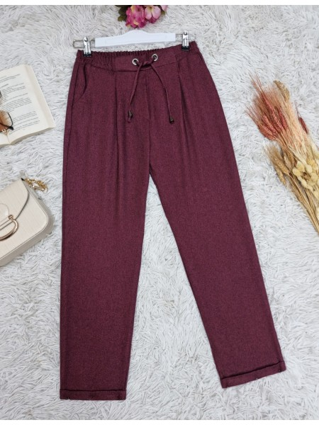 Elastic Waist Laced Pocket Double Trousers  -Maroon