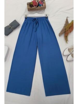 Elastic Waist And Lace-Up Viscose Trousers -İndigo
