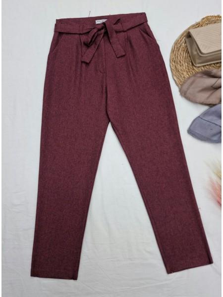 Tie Waist Pocket Slim Leg Trousers -Maroon