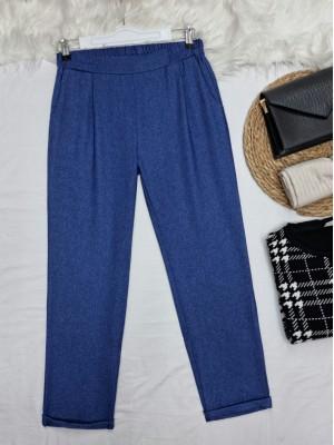 Elastic Waist Double Pocketed Double Leg Trousers -İndigo