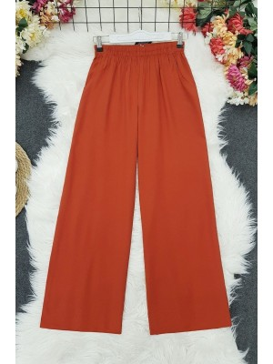 Wide Viscose Trousers With Elastic Waist Pockets -Brick color