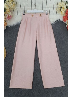 Belt Buttoned Ayrobin Trousers -Powder