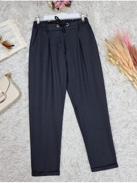 Elastic Waist Laced Pocket Double Trousers -Black