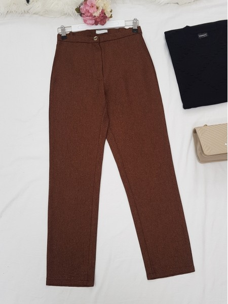 Single Button Front Zipper Winter Trousers -Brown
