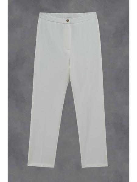 Likralı Duble Kumaş Pantolon -Ecru