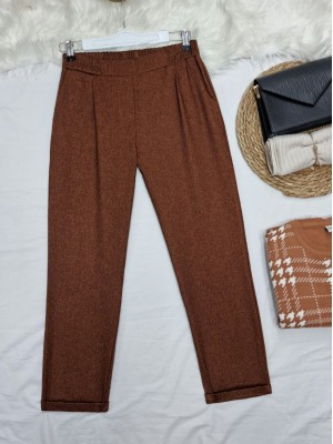 Elastic Waist Double Pocketed Double Leg Trousers -Brown