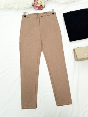 Single Button Front Zipper Winter Trousers -Mink color