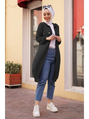 Hooded Sleeve and Skirt Elastic Pocket Combed Cotton Coat -Black