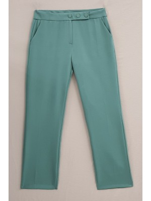Snap Fastener Double Fabric Ankle Trousers -Mint Color