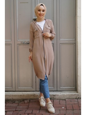 Hooded Sleeve and Skirt Elastic Pocket Combed Cotton Coat -Stone