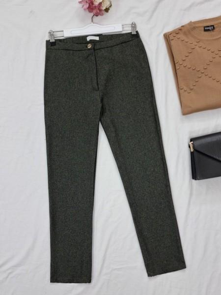 Single Button Front Zipper Winter Trousers -Khaki