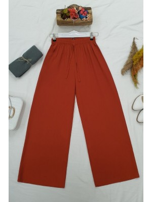 Elastic Waist And Lace-Up Viscose Trousers -Brick color
