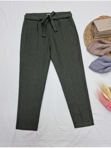 Tie Waist Pocket Slim Leg Trousers -Khaki