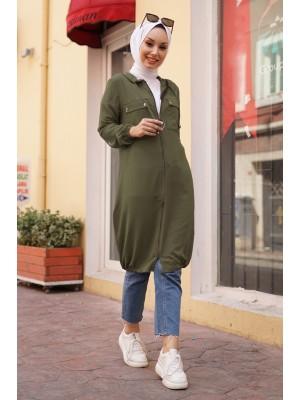 Hooded Sleeve and Skirt Elastic Pocket Combed Cotton Coat -Khaki