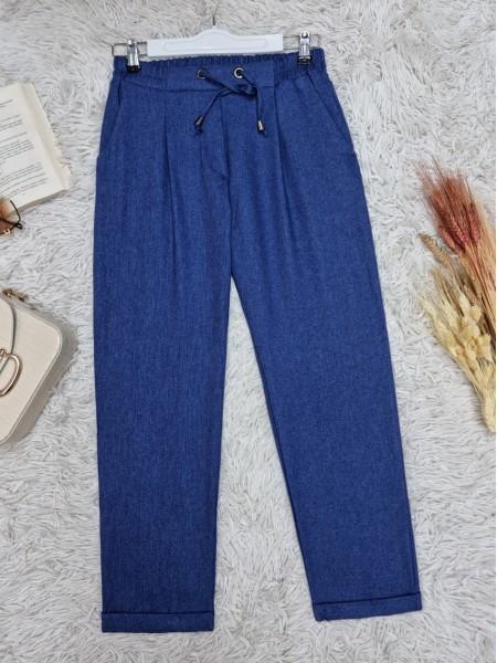 Elastic Waist Laced Pocket Double Trousers -İndigo