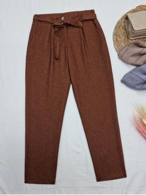 Tie Waist Pocket Slim Leg Trousers -Brown