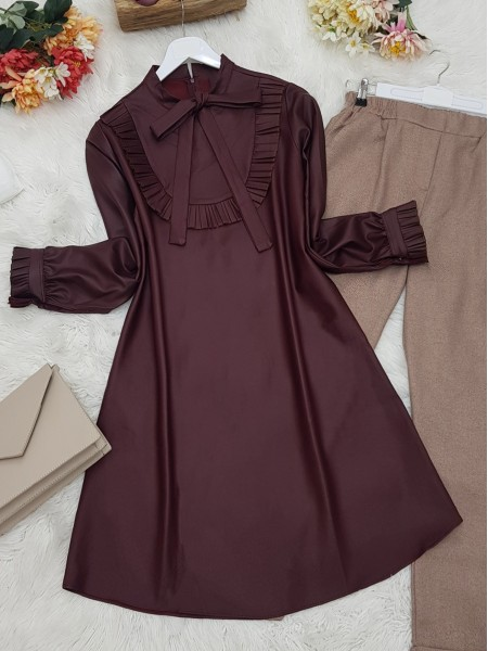 Frilly Front and Sleeves Tied Collar Leather Coated Tunic -Maroon