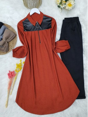 Front Pleated Leather Detailed Sleeve Elastic Tunic -Brick color