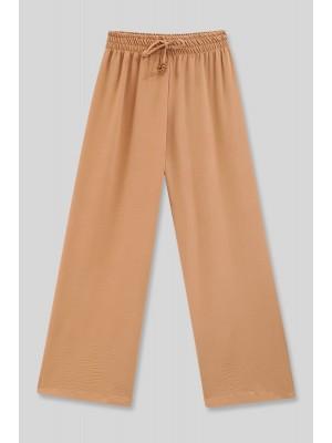 Elastic Waist Loose Ayrobin Trousers -Mink color