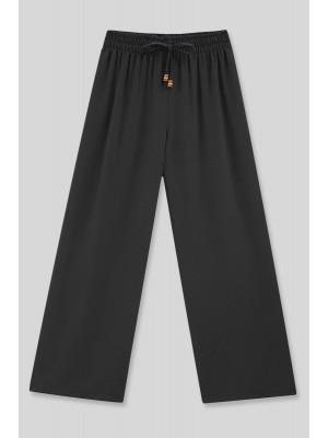 Elastic Waist Loose Ayrobin Trousers -Black