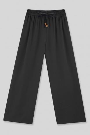 Beli Lastikli Salaş Ayrobin Pantolon -Siyah