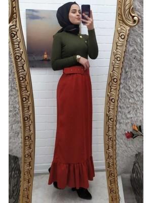 Belted Velvet Skirt -Brick color