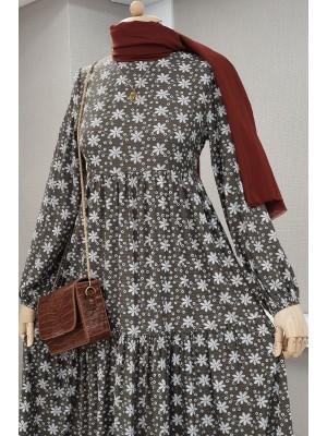 Long Dress With Flower Piece -Khaki