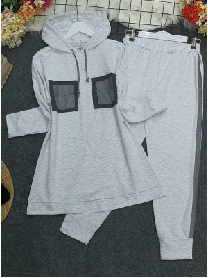 Hooded, Reflective Double Pocket Combed Combed Set -Grey