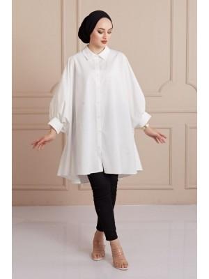 Plain Poncho Shirt -White