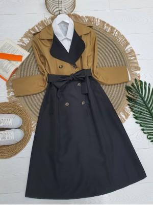Double Color Epaulet Belt Buttoned Trench Coat -Mink color