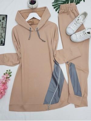 Hooded Side Zipper Detailed Combed Cotton Set -Mink color