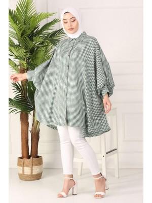 Checked poncho shirt -Green