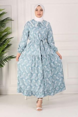 Güpürlü Bebe Yaka Uzun Elbise -Mavi