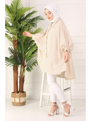 Checked poncho shirt -Mink color