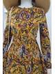 Etnik Desenli Uzun Elbise -Mustard