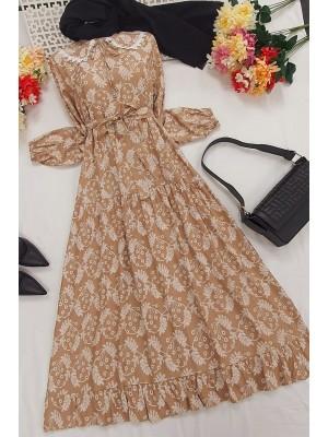 Baby Collar Long Dress -Mink color