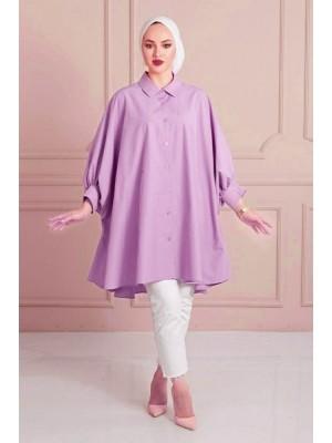 Plain Poncho Shirt -Lilac