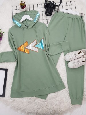 Hooded Colored Icon Combed Combed Set -Mint Color