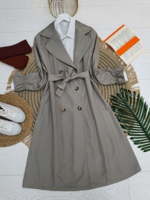Shawl Collar Trench Coat With Sleeves Pleated Belt -Grey