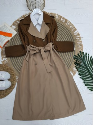 Double Color Epaulet Belt Buttoned Trench Coat -Snuff
