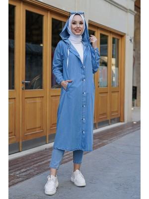 Buttoned Hooded Denim Cap -Light blue