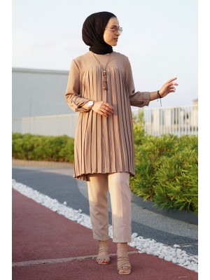 Folded Front Tunic -Mink color
