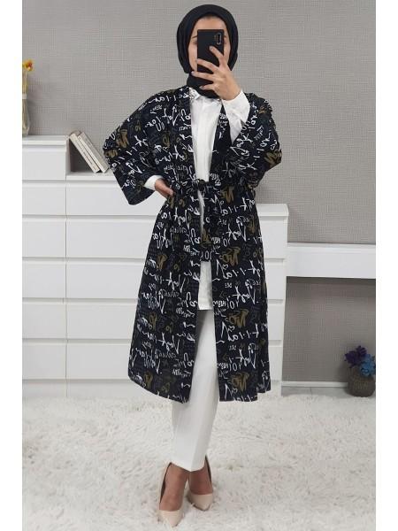 Text Printed Kimono -Black