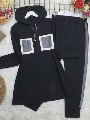 Hooded, Reflective Double Pocket Combed Combed Set -Black