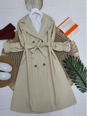 Shawl Collar Trench Coat With Sleeves Pleated Belt -Stone
