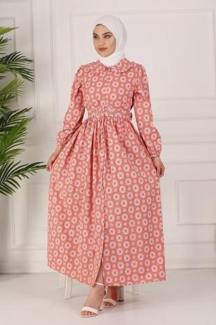 Boydan Düğmeli Kemerli Elbise -Somon