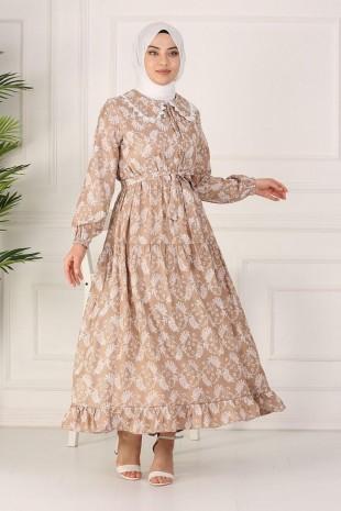 Güpürlü Bebe Yaka Uzun Elbise -Vizon
