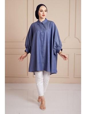 Plain Poncho Shirt -İndigo